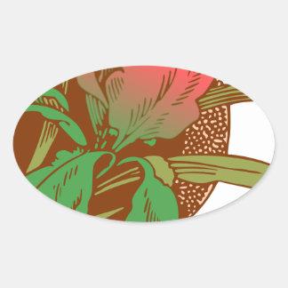 Adesivo Oval Design floral