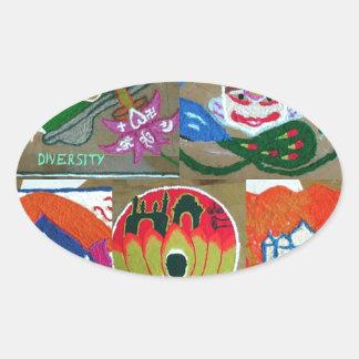 Adesivo Oval Design indiano étnico