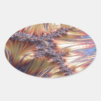 Adesivo Oval Design reflexivo tripartido do fractal do por do
