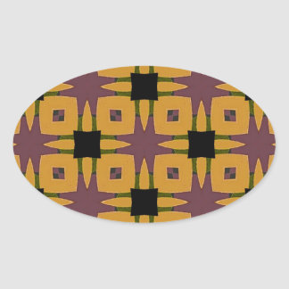 Adesivo Oval Design retro do divertimento do starburst