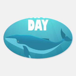 Adesivo Oval Dia da baleia do mundo - dia da apreciação
