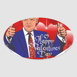 Adesivo Oval dia dos namorados feliz Donald Trump