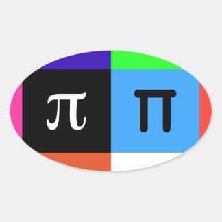 Adesivo Oval dia feliz do pi do colorblock