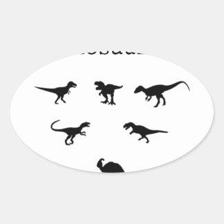 Adesivo Oval Dinossauro