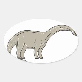 Adesivo Oval Dinossauro do Brontosaurus que olha abaixo da mono