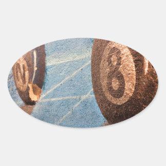 Adesivo Oval Disparado da ilustração das bolas de bilhar na