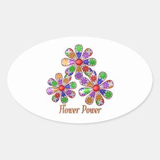 Adesivo Oval Divertimento flower power