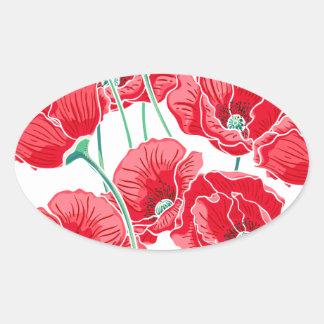 Adesivo Oval Do campo vermelho da papoila da relembrança teste