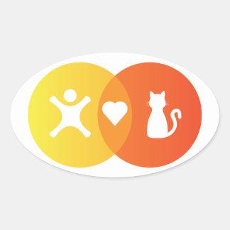 Adesivo Oval Do coração dos gatos pessoas do diagrama de Venn