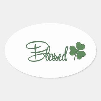 Adesivo Oval ☘ do design do dia de St Patrick abençoado