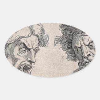 Adesivo Oval Dois desenhos das caras irritadas