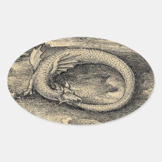 Adesivo Oval Dragão medieval de Ouroboros