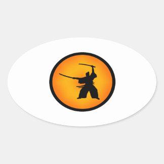 Adesivo Oval Duas espadas
