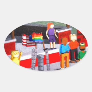 Adesivo Oval E.U. e bandeiras do orgulho feitas dos blocos