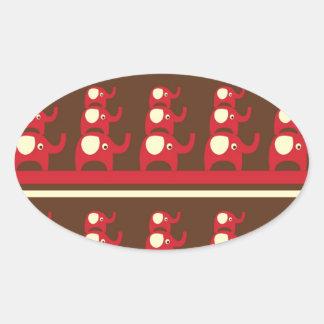 Adesivo Oval Elefantes vermelhos engraçados bonitos empilhados