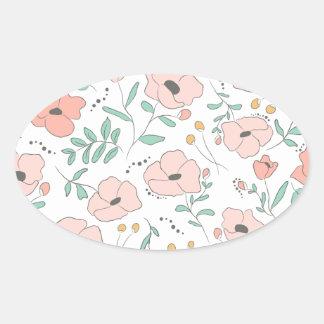 Adesivo Oval Elegant seamless pattern with flowers, vector illu