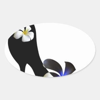 Adesivo Oval Elegante preto alto-colocou saltos calçados.