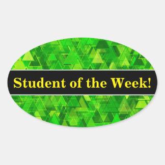 "Adesivo Oval Elogio + A ""floresta"" do triângulo verde dá forma"