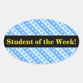 Adesivo Oval Elogio do estudante + Corações e teste padrão