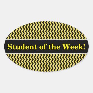 Adesivo Oval Elogio do estudante + Linha ondulada amarela &