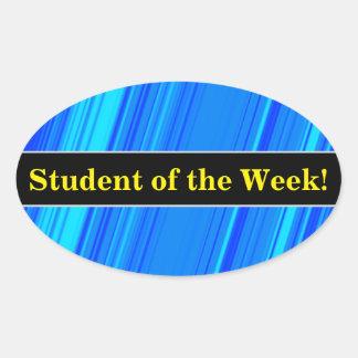 Adesivo Oval Elogio do estudante + Linhas azuis e cianas teste
