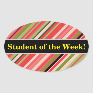 Adesivo Oval Elogio do estudante + Listras Melancia-Inspiradas