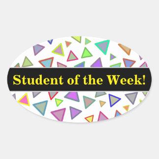 Adesivo Oval Elogio do estudante + Teste padrão colorido dos