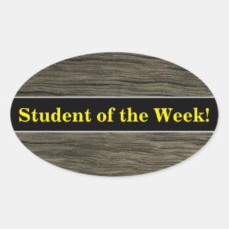 Adesivo Oval Elogio do estudante + Teste padrão de madeira do