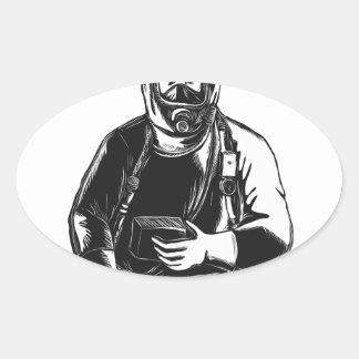 Adesivo Oval EMT que veste o terno Scratchboard de Hazmat