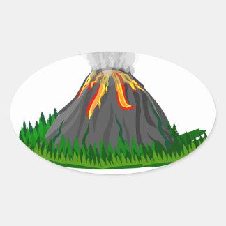 Adesivo Oval erupção e fogo do vulcão