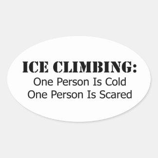 Adesivo Oval Escalada do gelo - frio, Scared