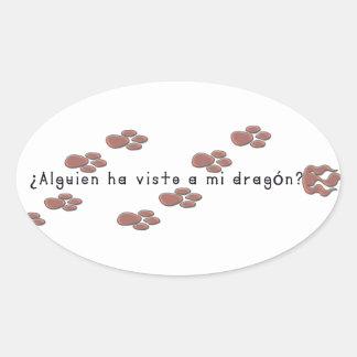 Adesivo Oval Espanhol-Dragão