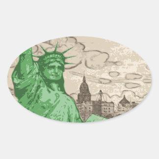 Adesivo Oval Estátua da liberdade clássica