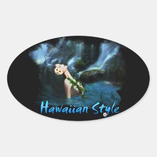 Adesivo Oval Estilo de Hawaiiam