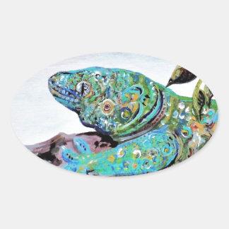 Adesivo Oval Estilo do art deco do lagarto de Nova Caledônia