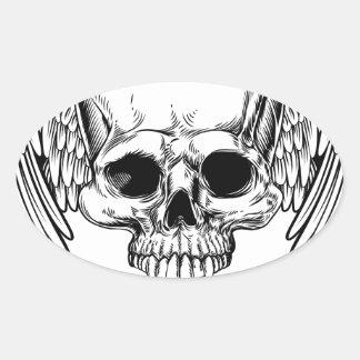 Adesivo Oval Estilo retro voado do Woodcut do vintage do crânio