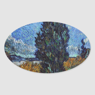 Adesivo Oval Estrada secundária de Vincent van Gogh em Provence