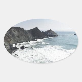 Adesivo Oval Estrada Sur grande da Costa do Pacífico da vista