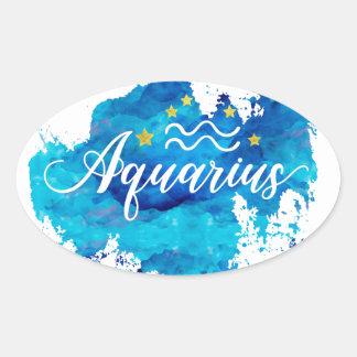 Adesivo Oval Estrelas azuis do ouro da aguarela do Aquário do