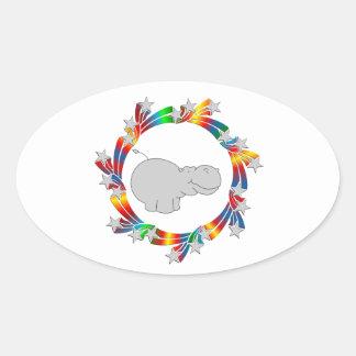 Adesivo Oval Estrelas do hipopótamo