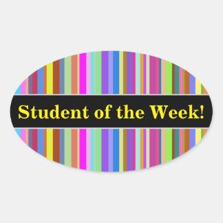 """Adesivo Oval """"Estudante da semana!"""" + Listras de várias cores"""