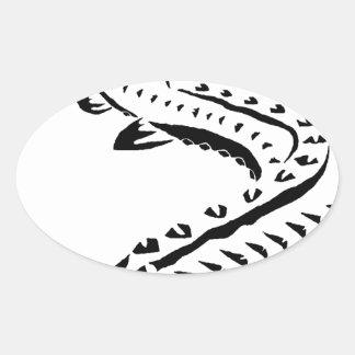 Adesivo Oval Esturjão tribal - beluga de Huso