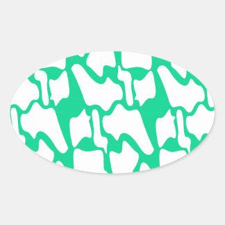 Adesivo Oval Ethno do eco dos elementos do design no branco
