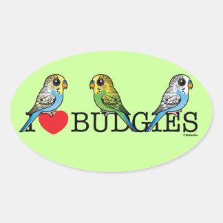 Adesivo Oval Eu amo Budgies