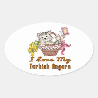 Adesivo Oval Eu amo meu angora turco