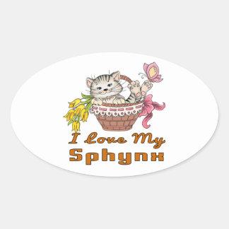 Adesivo Oval Eu amo meu Sphynx