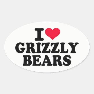 Adesivo Oval Eu amo ursos de urso