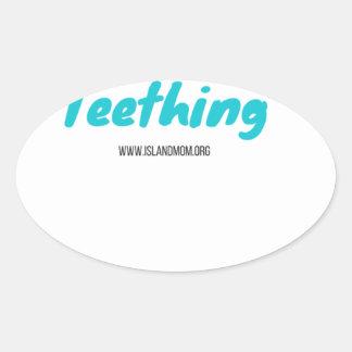 Adesivo Oval Eu sobrevivi ao Teething - camisas de T