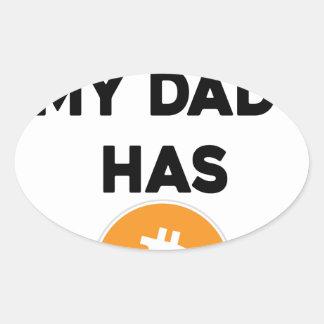 Adesivo Oval Eu sou rico - meu pai tem Bitcoin