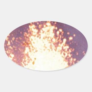 Adesivo Oval explosão do fogo